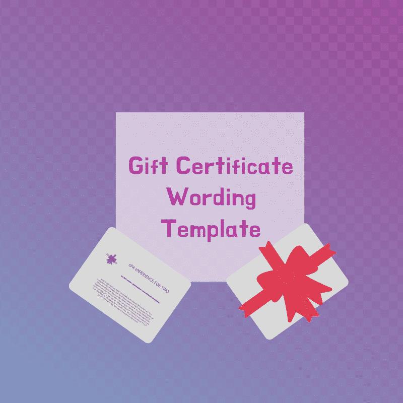 gift certificate wording template